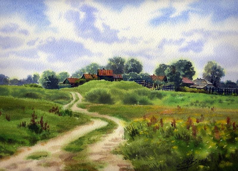 акварельный пейзаж Ольга Ивлева - 10